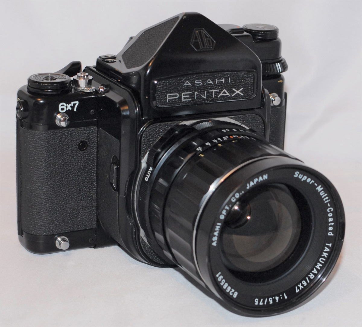 Pentax 6x7 + 75mm f4 .5 lens. Excellent condition.